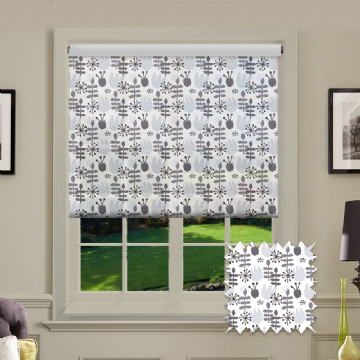 Grey Print Shapes Patterned Roller Blind in Annalee Charcoal